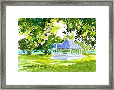 Veterans Park Gazebo Framed Print by Anne Marie Brown