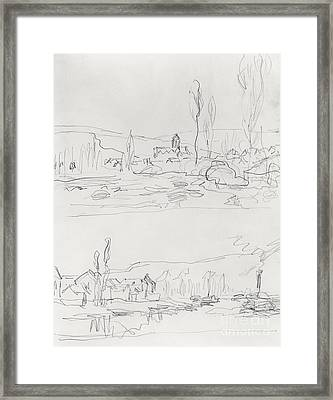 Vetheuil From L'ile St Martin And Tugboat On The Seine Before Lavacourt, Before 1886 Framed Print