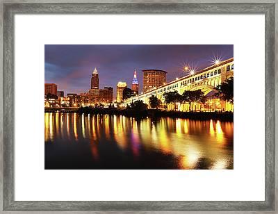 Vet's Bridge Lights Framed Print by David Yunker