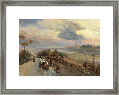 Via Cassia In Rome Framed Print by Oswald Achenbach