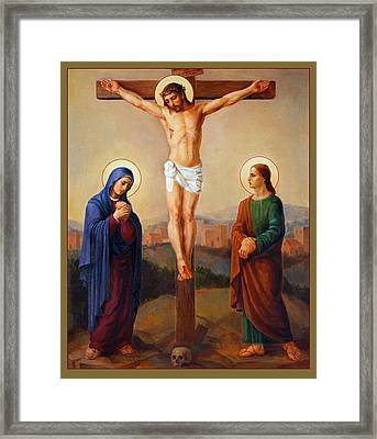 Framed Print featuring the painting Via Dolorosa - Crucifixion - 12 by Svitozar Nenyuk