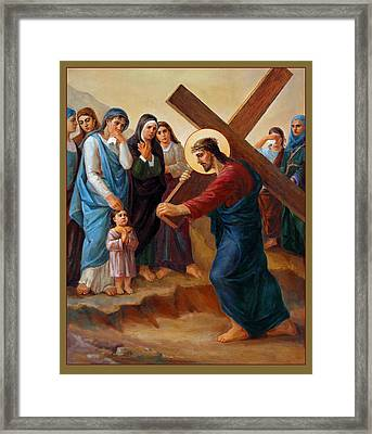 Framed Print featuring the painting Via Dolorosa - Daughters Of Jerusalem - 8 by Svitozar Nenyuk