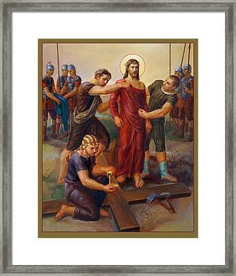 Framed Print featuring the painting Via Dolorosa - Disrobing Of Christ - 10 by Svitozar Nenyuk