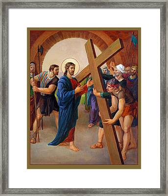 Framed Print featuring the painting Via Dolorosa - Jesus Takes Up His Cross - 2 by Svitozar Nenyuk