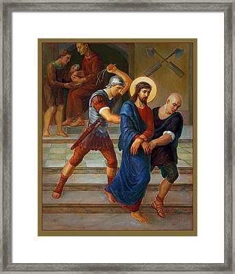 Framed Print featuring the painting Via Dolorosa - Stations Of The Cross - 1 by Svitozar Nenyuk