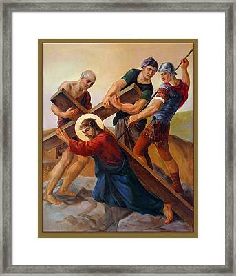 Framed Print featuring the painting Via Dolorosa - Stations Of The Cross - 3 by Svitozar Nenyuk