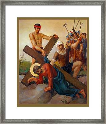 Framed Print featuring the painting Via Dolorosa - The Second Fall Of Jesus - 7 by Svitozar Nenyuk