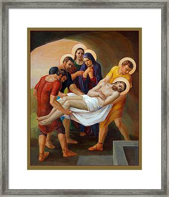 Framed Print featuring the painting  Via Dolorosa - The Way Of The Cross - 14 by Svitozar Nenyuk