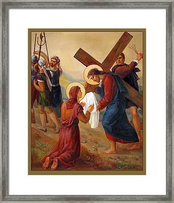 Framed Print featuring the painting Via Dolorosa - Veil Of Saint Veronica - 6 by Svitozar Nenyuk