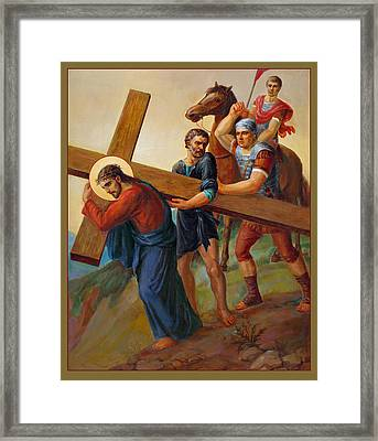 Framed Print featuring the painting Via Dolorosa - Way Of The Cross - 5 by Svitozar Nenyuk