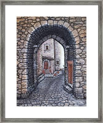 Via In Santo Stefano Framed Print by Judy Kirouac
