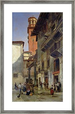 Via Mazzanti In Verona Framed Print by Jacques Carabain