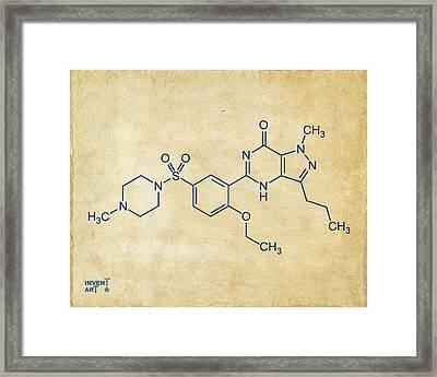 Viagra Molecular Structure Vintage Framed Print