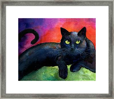 Vibrant Black Cat Watercolor Painting  Framed Print