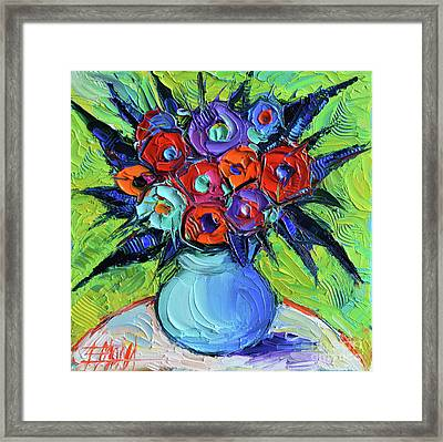 Vibrant Bouquet On Round White Table Framed Print