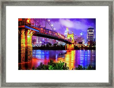 Vibrant Colors Of The Downtown Cincinnati Skyline Framed Print by Gregory Ballos