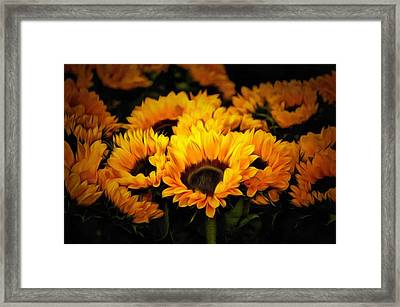 Vibrant Contemporary Orange Sunflowers Summer Painting Framed Print by Wall Art Prints