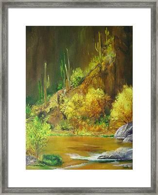 Vibrant Landscape Paintings  - Arizona Canyon Scene - Virgilla Art Framed Print by Virgilla Lammons
