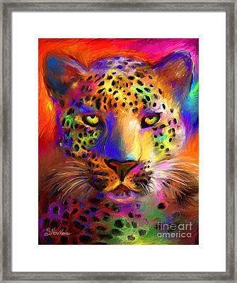 Vibrant Leopard Painting Framed Print by Svetlana Novikova