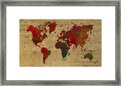 Vibrant Map Of The World In Watercolor On Old Sheet Music And Newsprint Framed Print by Design Turnpike