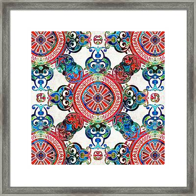 Vibrant Pattern Art - Color Fusion Design 4 By Sharon Cummings Framed Print