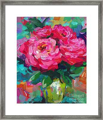 Vibrant Peony Flowers In A Vase Still Life Painting Framed Print by Svetlana Novikova