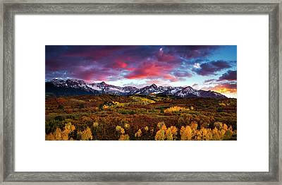 Framed Print featuring the photograph Vibrant Rockies Sunset by Andrew Soundarajan