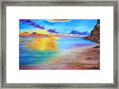 Rocky Sunset Shore Framed Print