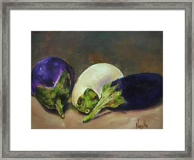 Vibrant Still Life Paintings - Eggplants Framed Print by Virgilla Lammons