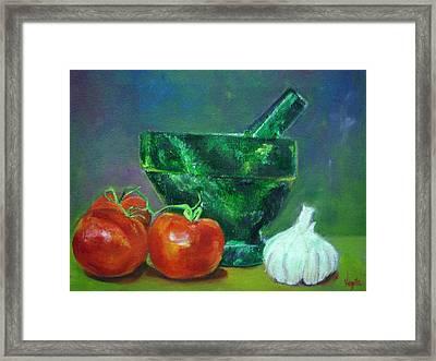Vibrant Still Life Paintings - Morter Pestle Tomatoes And Garlic Framed Print by Virgilla Lammons