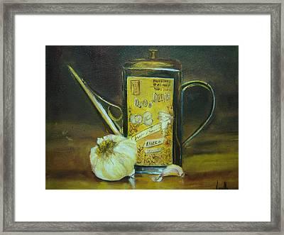 Vibrant Still Life Paintings - Olive Oil With Garlic - Virgilla Art Framed Print by Virgilla Lammons