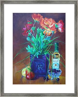 Vibrant Still Life Paintings - Poppies With Fruit And Wine - Virgilla Art Framed Print by Virgilla Lammons