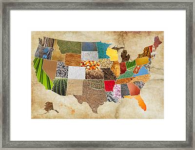 Vibrant Textures Of The United States On Worn Parchment Framed Print by Design Turnpike