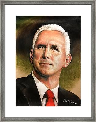 Vice President Mike Pence Portrait Framed Print by Robert Korhonen