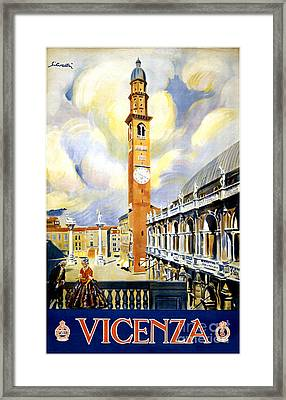 Vicenza Italy Vintage Travel Poster Restored Framed Print