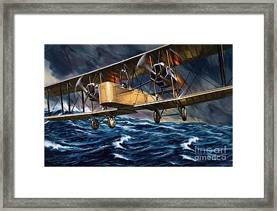 Vickers Vimy Over The Waves Framed Print by Wilf Hardy