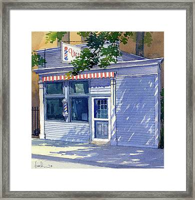 Vic's Barbershop Framed Print