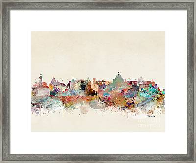 Framed Print featuring the painting Victoria Canada Skyline by Bri B