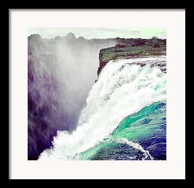Zambia Waterfall Mixed Media Framed Prints