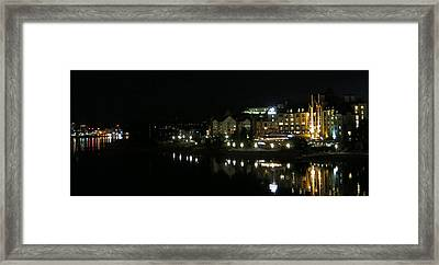 Victoria Harbor Night View Framed Print