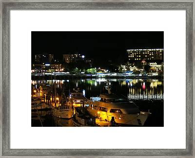 Victoria Inner Harbor At Night Framed Print