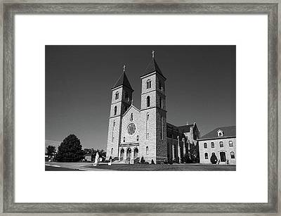 Framed Print featuring the photograph Victoria, Kansas - Cathedral Of The Plains 6 Bw by Frank Romeo