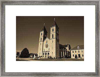 Framed Print featuring the photograph Victoria, Kansas - Cathedral Of The Plains Sepia 6 by Frank Romeo