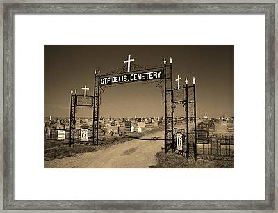 Framed Print featuring the photograph Victoria, Kansas - St. Fidelis Cemetery Sepia by Frank Romeo