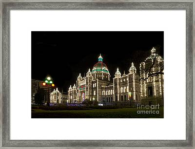Victoria Parliament Buildings At Night At Christmas Framed Print by Maria Janicki