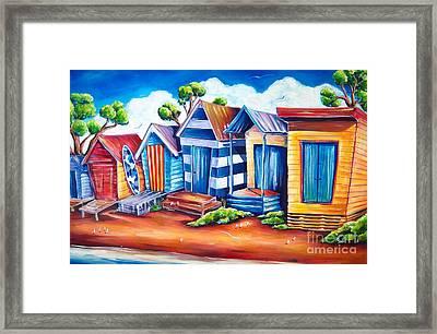 Victorian Beach Huts Framed Print