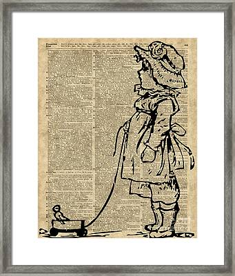 Victorian Child On A Dictionary Page Framed Print by Jacob Kuch