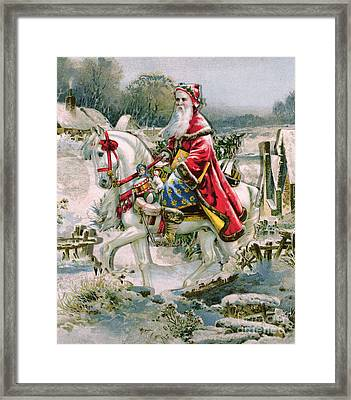 Victorian Christmas Card Depicting Saint Nicholas Framed Print by English School