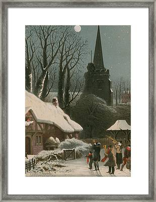 Victorian Christmas Scene With Band Playing In The Snow Framed Print by John Brandard