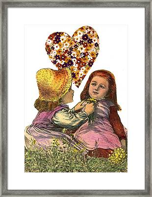 Victorian Girls Buttercup Game Framed Print by Marcia Masino
